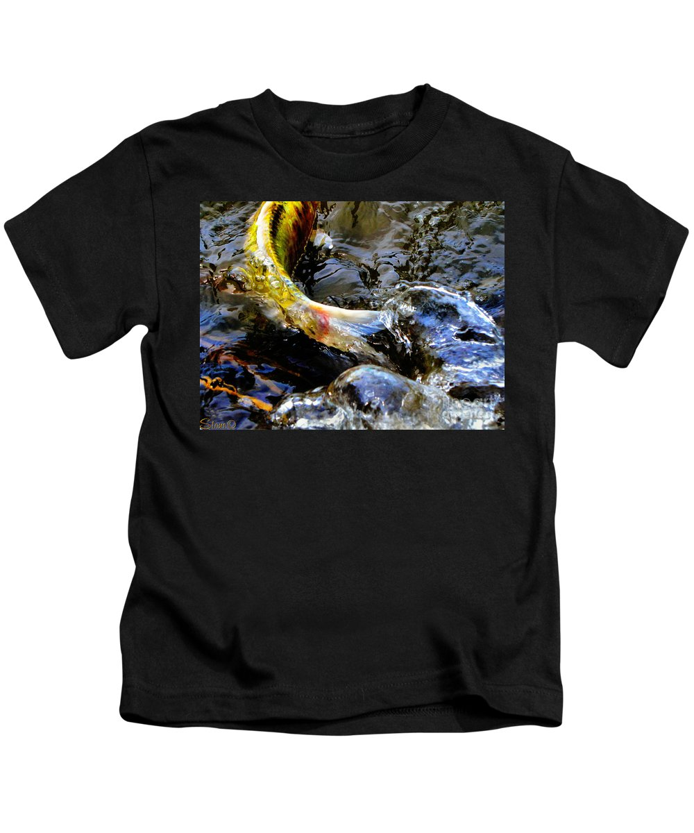 Koi Kids T-Shirt featuring the photograph Tale Of The Wild Koi by September Stone