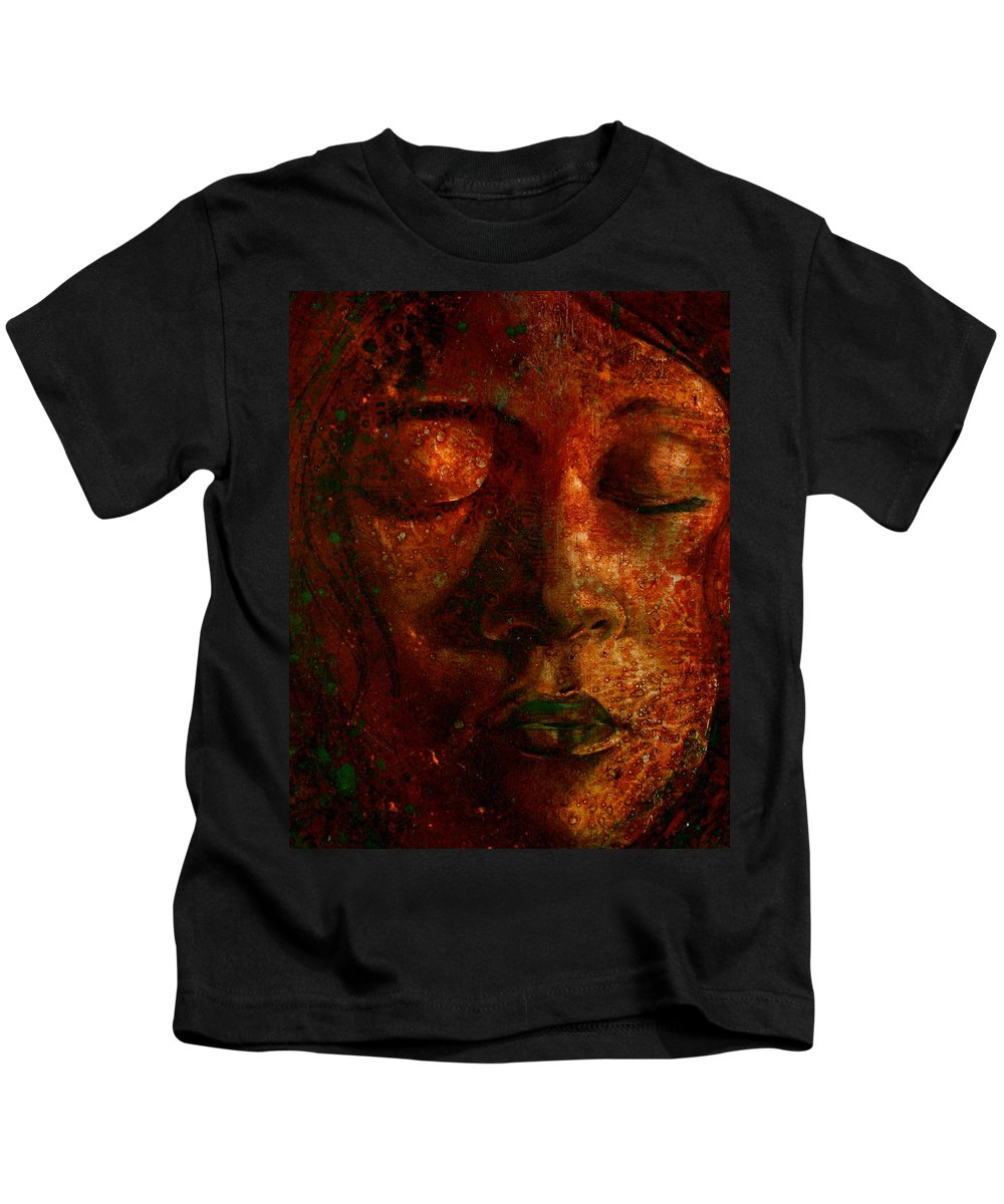 Portraiture Art Kids T-Shirt featuring the painting Talia by Laura Pierre-Louis
