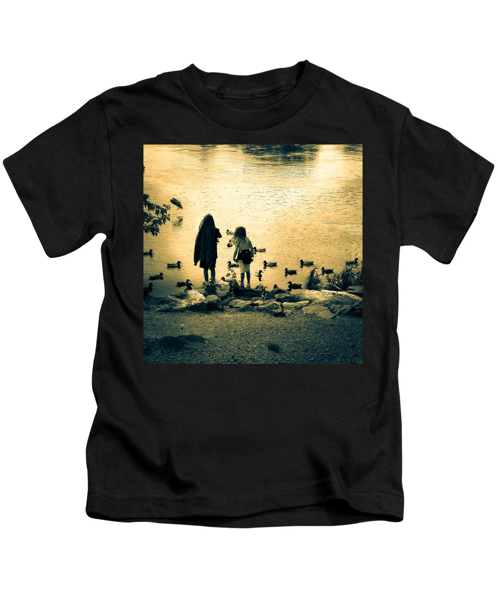 Kids Kids T-Shirt featuring the photograph Talking To Ducks by Bob Orsillo