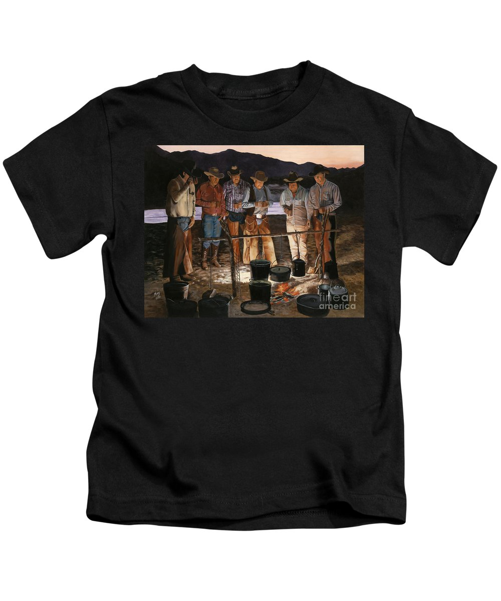Arizona Kids T-Shirt featuring the painting Tall Tales by Mary Rogers