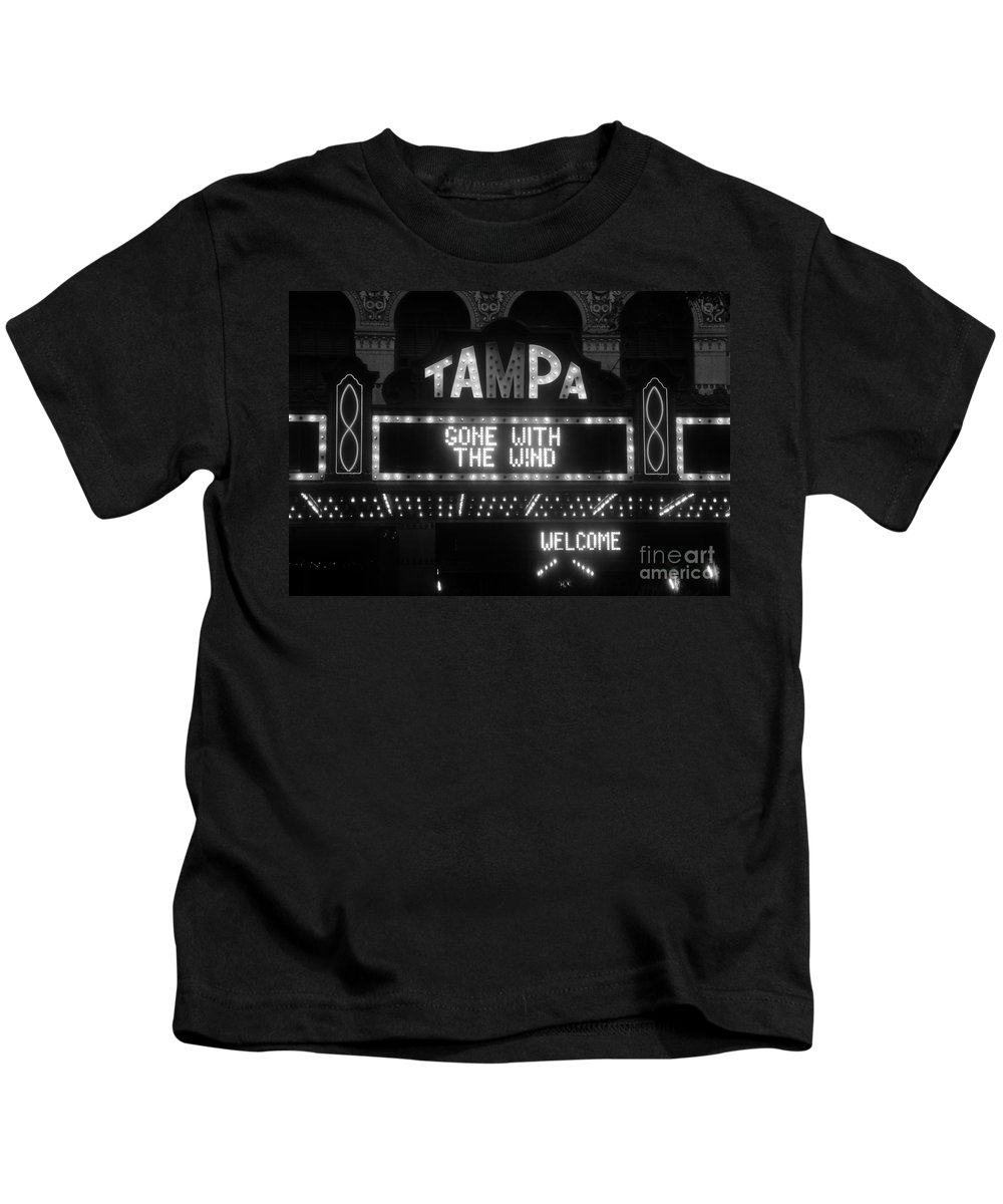 Tampa Theatre Kids T-Shirt featuring the photograph Tampa Theatre 1939 by David Lee Thompson