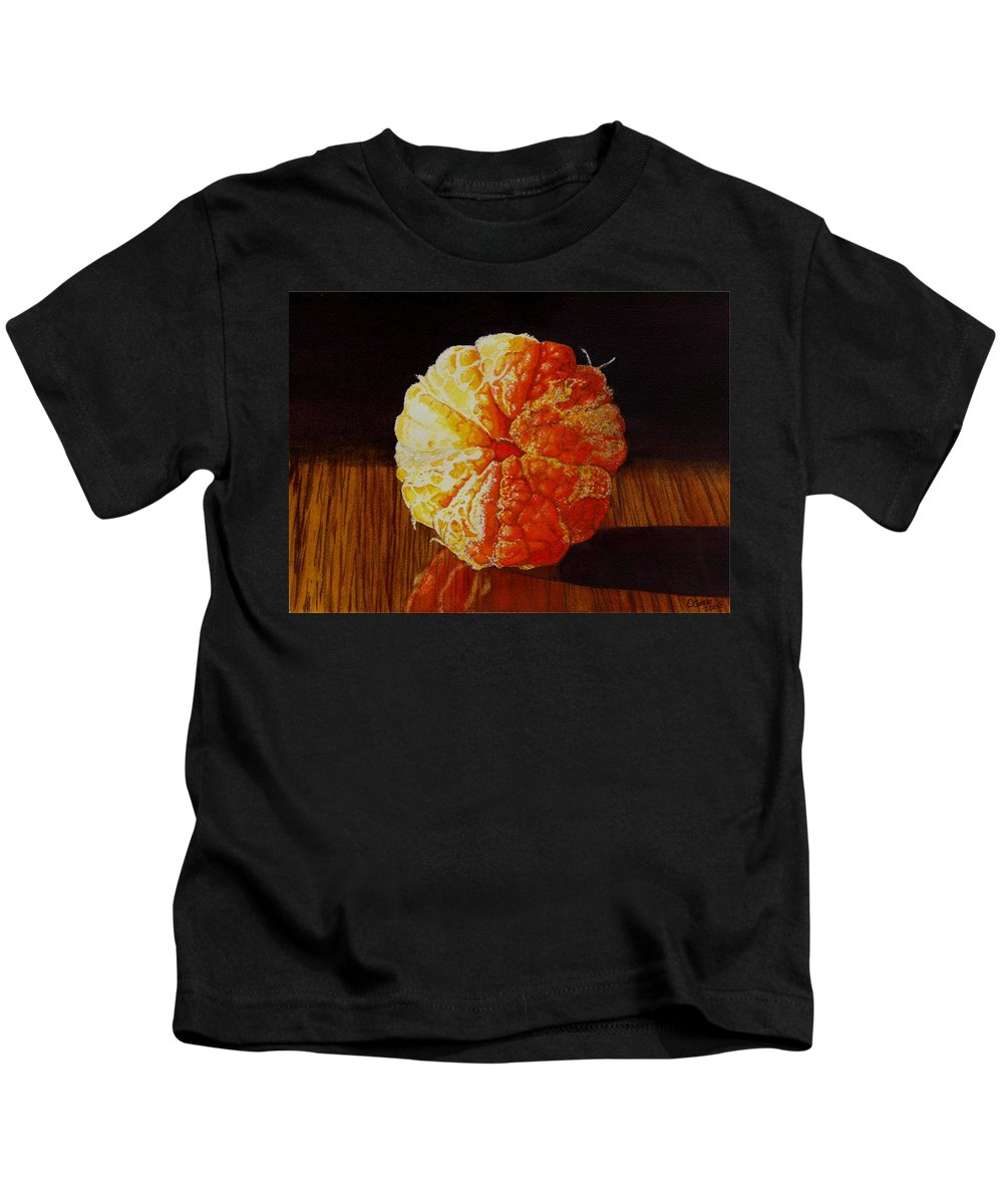 Still Life Kids T-Shirt featuring the painting Tangerine by Catherine G McElroy