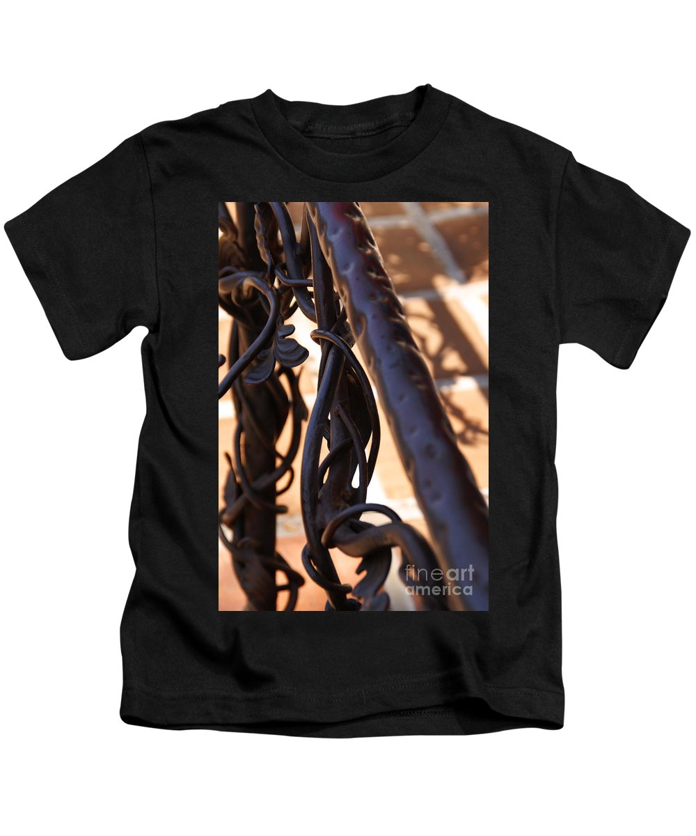 Rail Kids T-Shirt featuring the photograph Tangled Vines by Linda Shafer