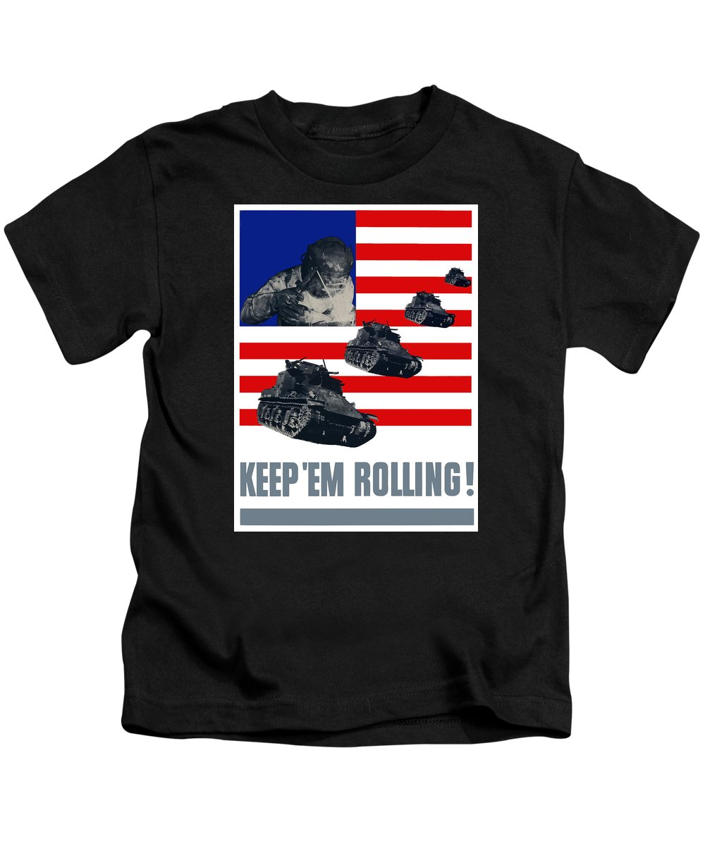 Tank Kids T-Shirt featuring the painting Tanks -- Keep 'em Rolling by War Is Hell Store