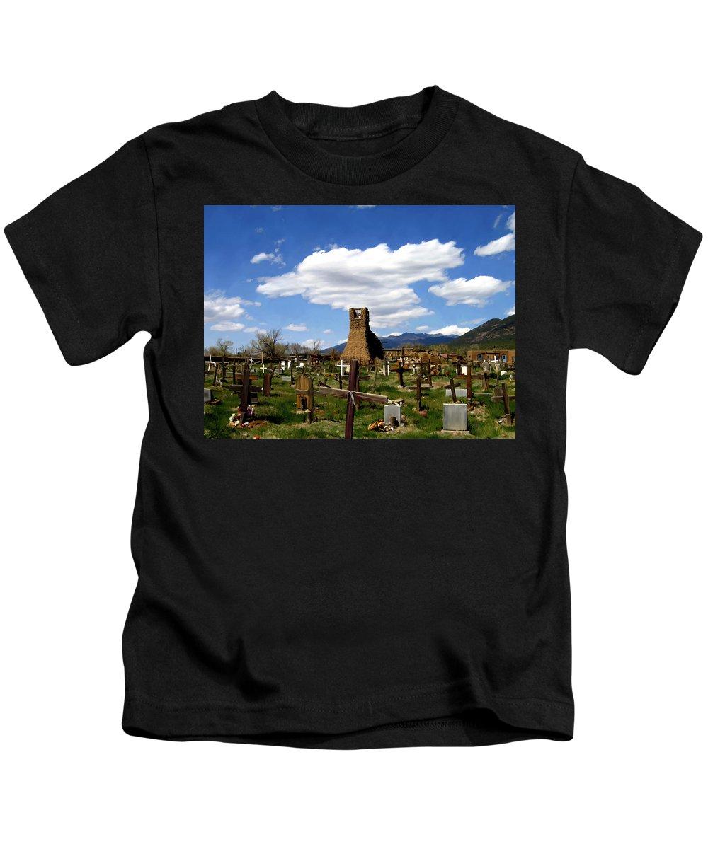 Taos Kids T-Shirt featuring the photograph Taos Pueblo Cemetery by Kurt Van Wagner