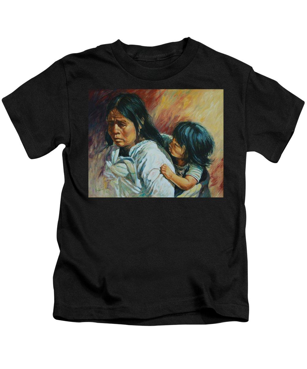 Woman Kids T-Shirt featuring the painting Tarascan Woman by Rick Nederlof