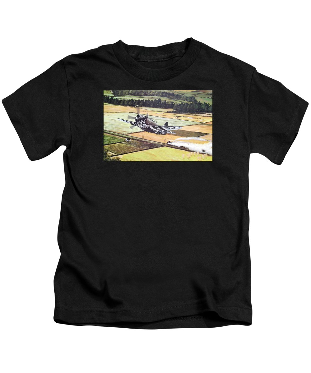 Military Kids T-Shirt featuring the painting Target Of Opportunity by Marc Stewart