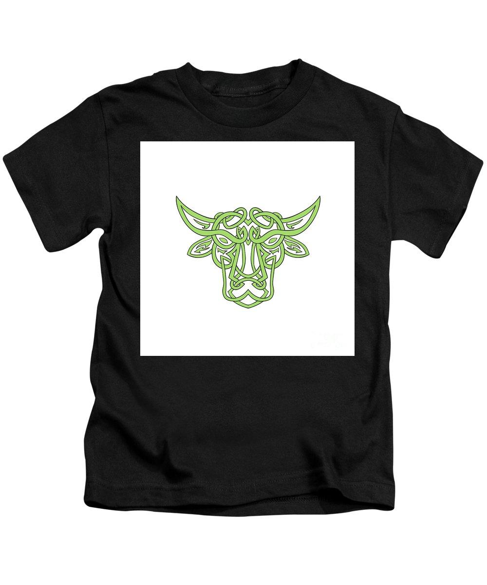 Taurus Kids T-Shirt featuring the digital art Taurus Bull Celtic Knot by Aloysius Patrimonio