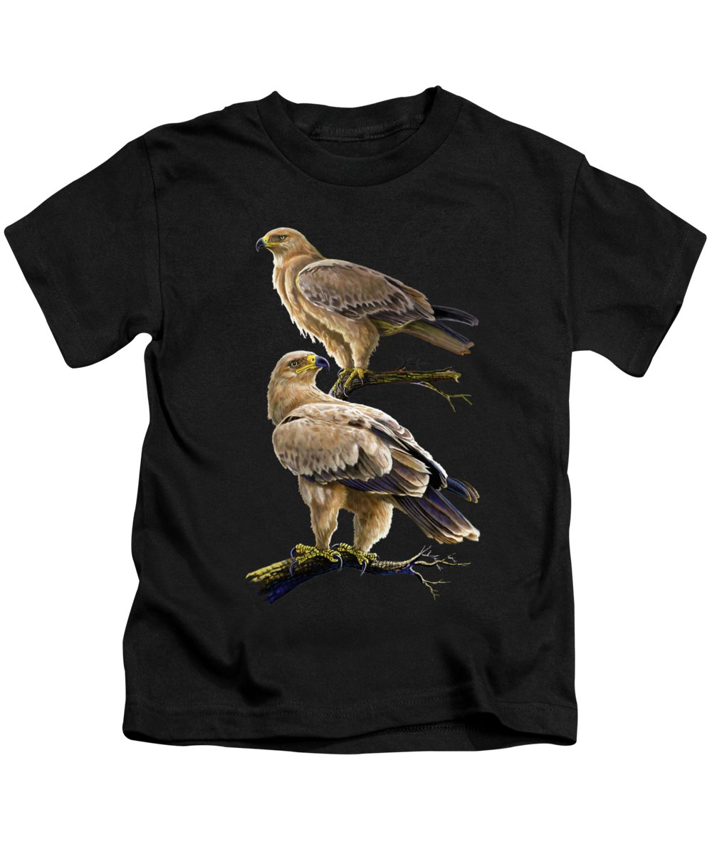 Kenya Kids T-Shirt featuring the painting Tawny Eagles by Anthony Mwangi