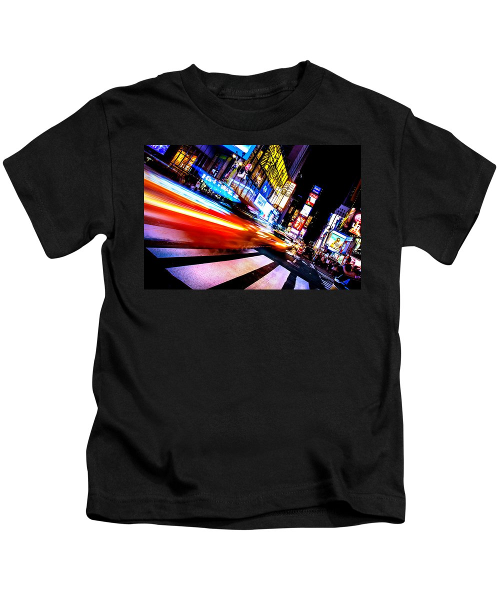 Times Square Kids T-Shirt featuring the photograph Taxis In Times Square by Az Jackson