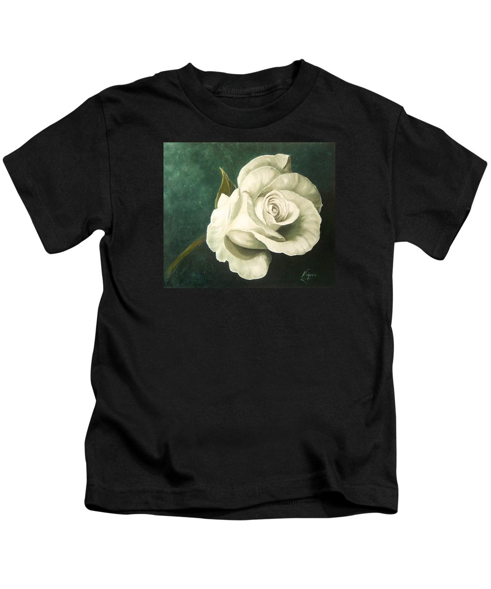 Rose Flower Still Life White Kids T-Shirt featuring the painting Tea Rose by Natalia Tejera