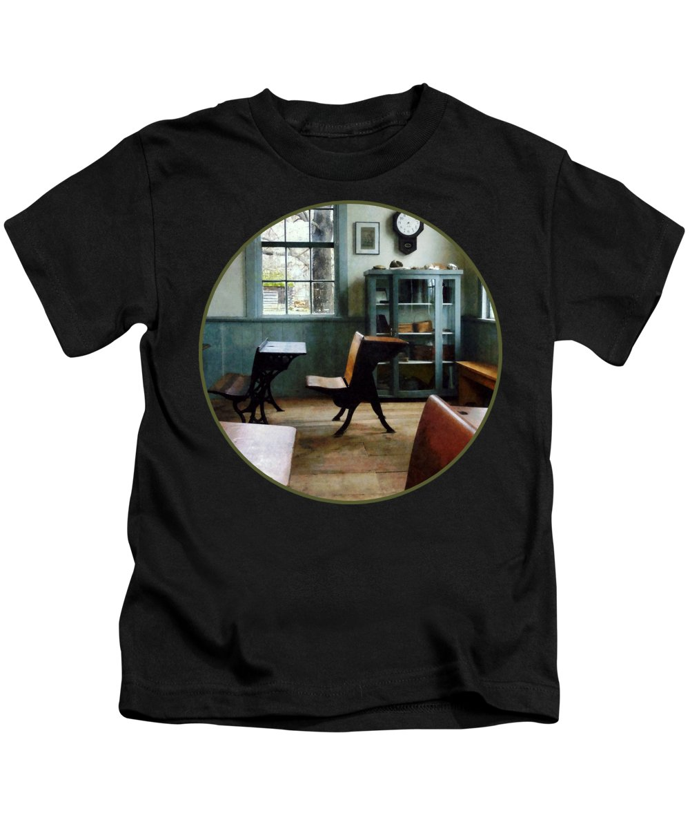Teacher Kids T-Shirt featuring the photograph Teacher - One Room Schoolhouse With Clock by Susan Savad