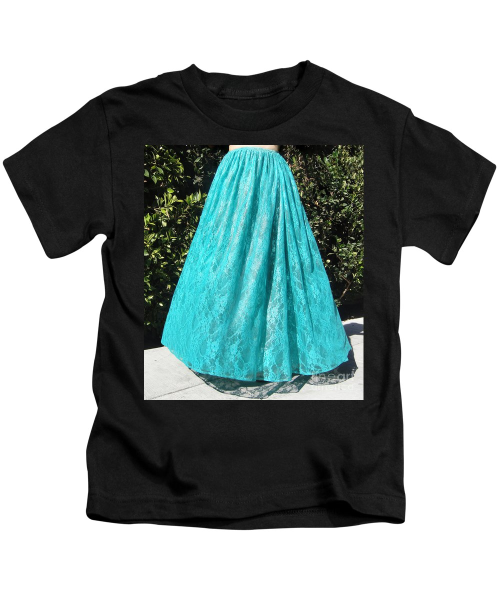 Ameynra Kids T-Shirt featuring the photograph Teal Green Lace Skirt. Ameynra By Sofia by Sofia Metal Queen