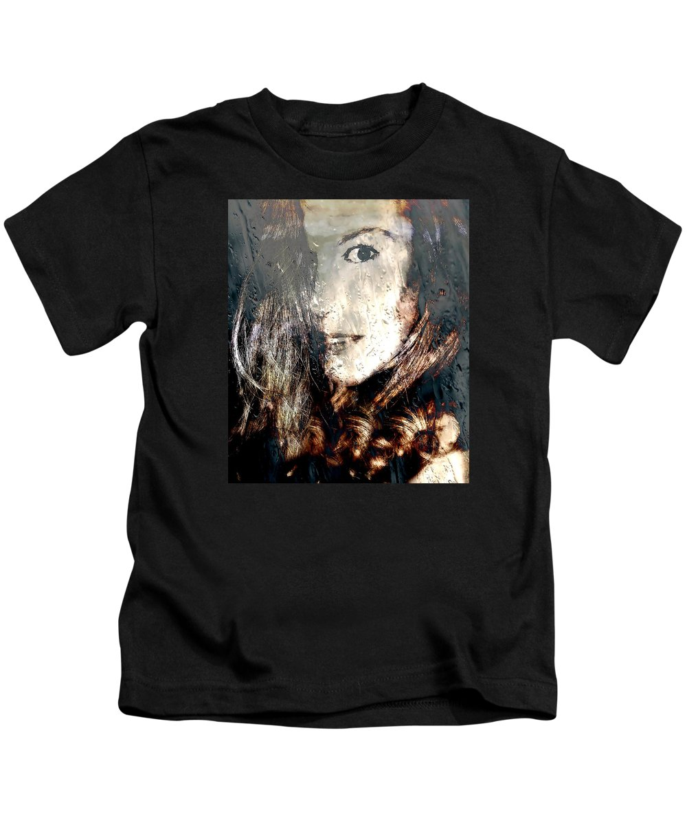 Woman Kids T-Shirt featuring the photograph Tears In The Rain Iv by Louisa Catharine