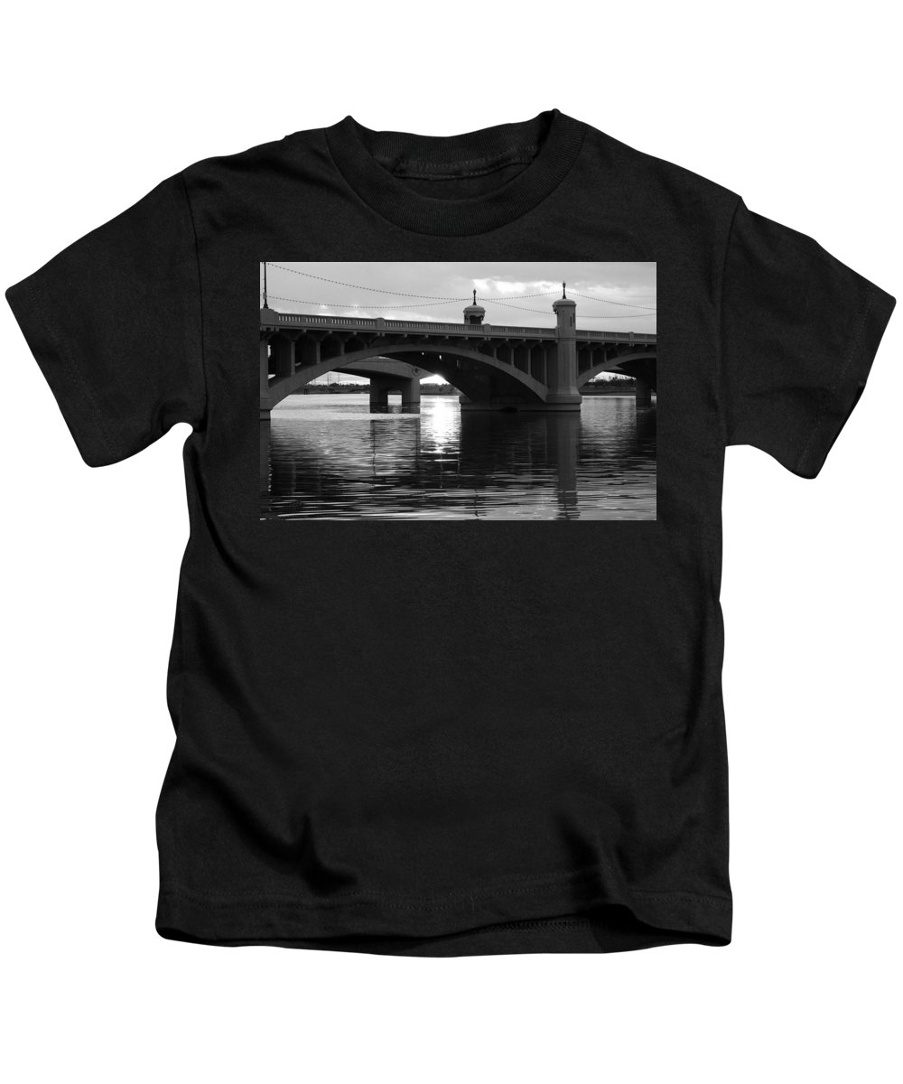 Black And White Kids T-Shirt featuring the photograph Tempe Town Lake Bridge Black And White by Jill Reger