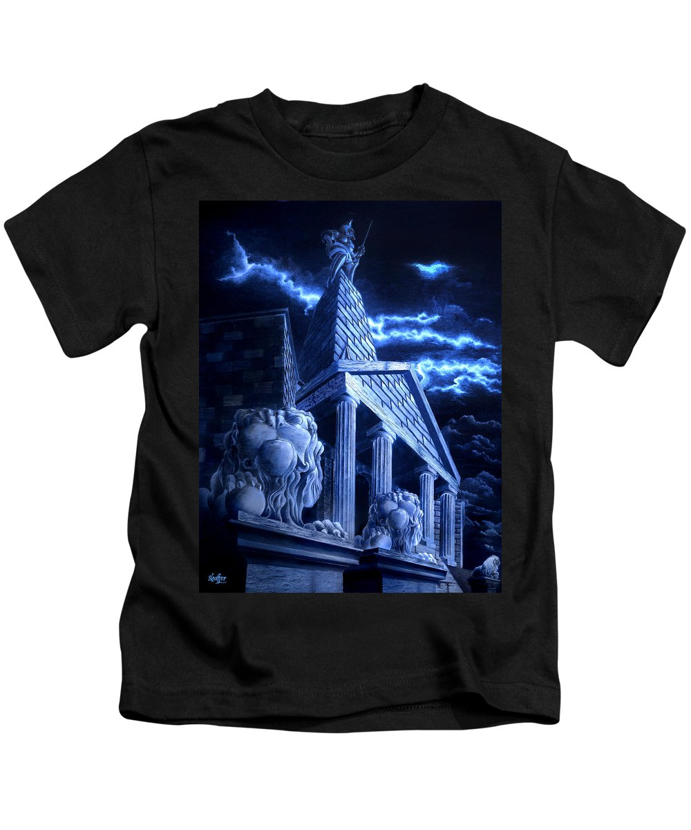 Hercules Kids T-Shirt featuring the drawing Temple Of Hercules In Kassel by Curtiss Shaffer