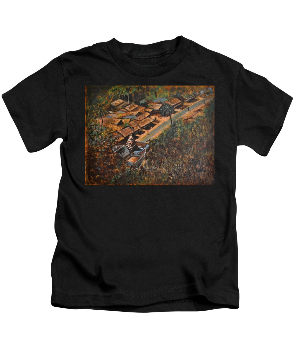 Temple Kids T-Shirt featuring the painting Temple Town by Usha Shantharam