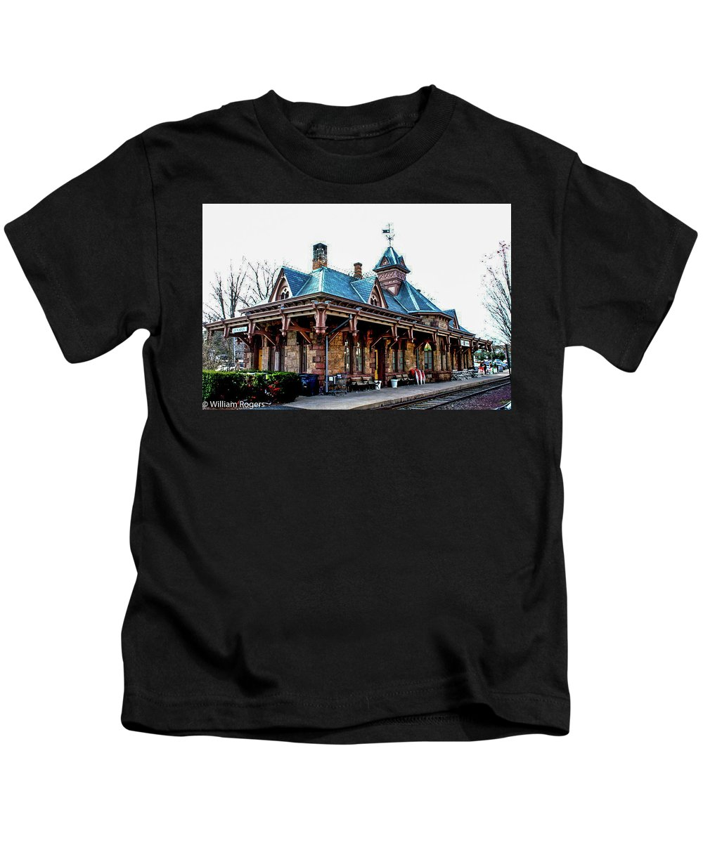 Built In 1872 When George Huyler Donated The Land And A Third Of The Cost. Residents And The Northern Railroad Of New Jersey Shared Equally In The Balance. Designed In High Victorian Gothic By Architect Daniel T. Atwood Kids T-Shirt featuring the photograph Tenafly Railroad Station by William Rogers