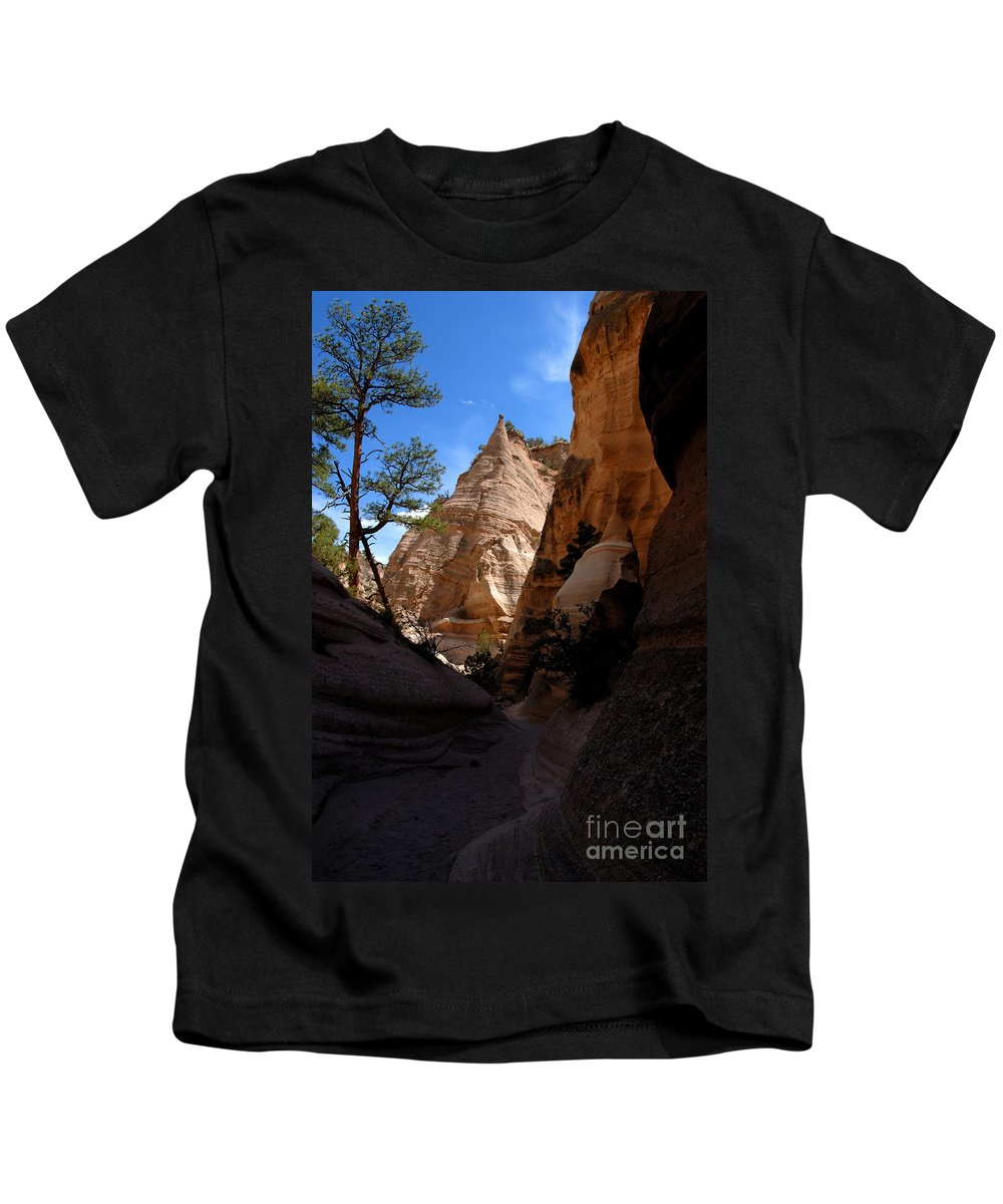Tent Rocks Wilderness New Mexico Kids T-Shirt featuring the photograph Tent Rocks Canyon by David Lee Thompson
