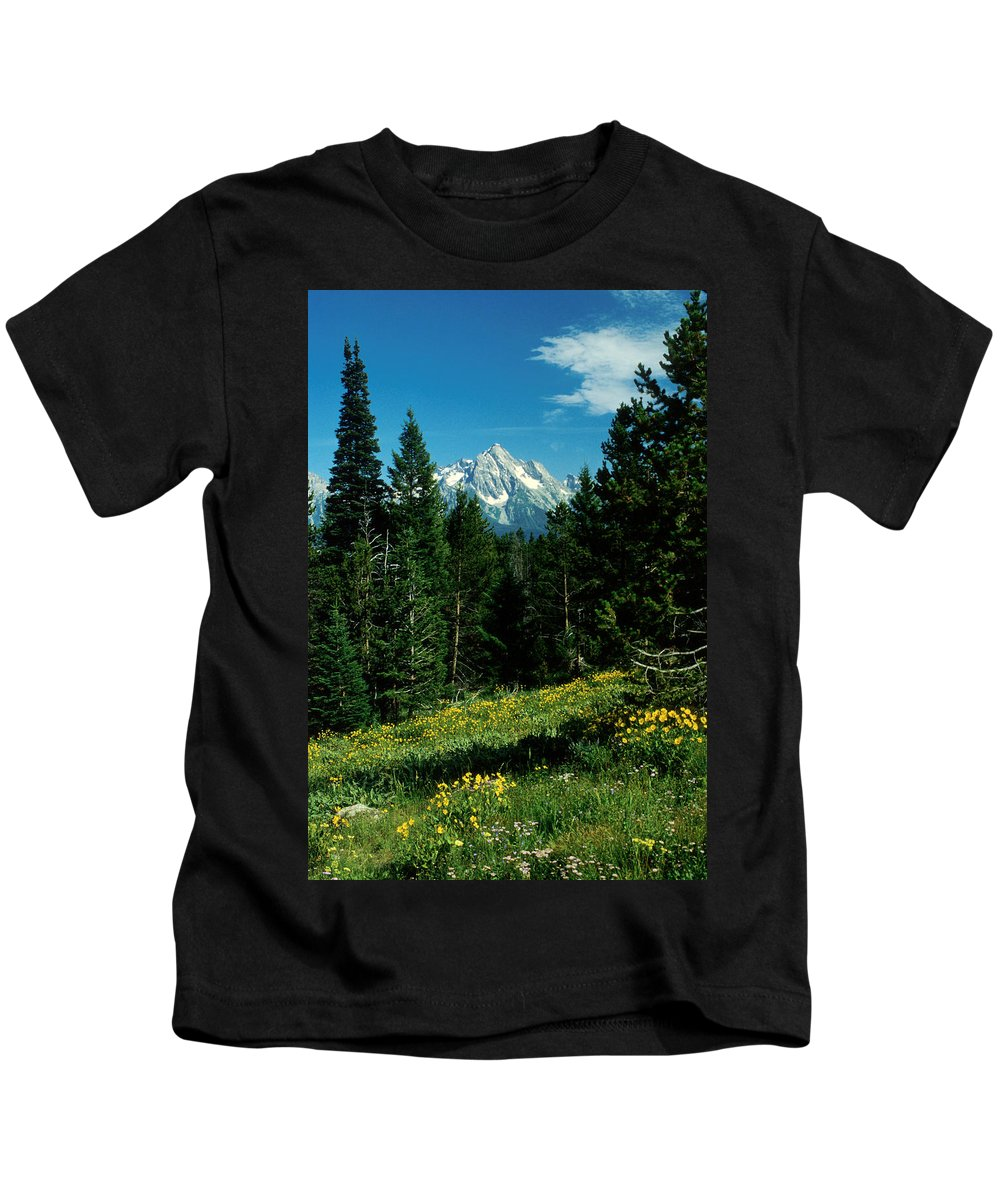 Wyoming Kids T-Shirt featuring the photograph Teton Meadow by Jerry McElroy