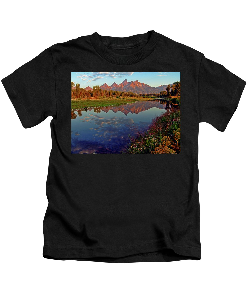 Mountains Kids T-Shirt featuring the photograph Teton Wildflowers by Scott Mahon