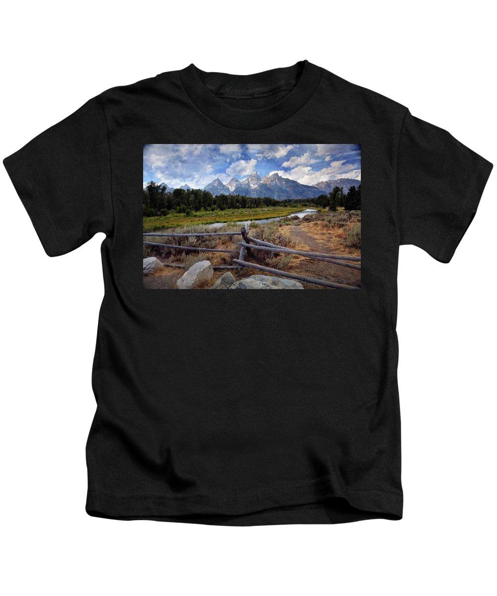 Grand Teton National Park Kids T-Shirt featuring the photograph Tetons Grande 3 by Marty Koch