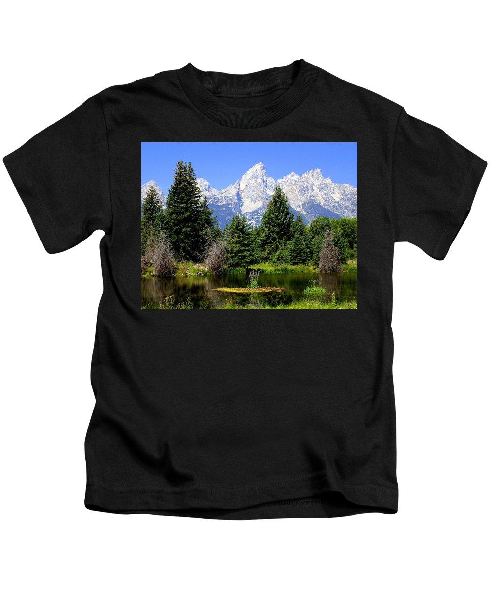 Grand Teton National Park Kids T-Shirt featuring the photograph Tetons by Marty Koch