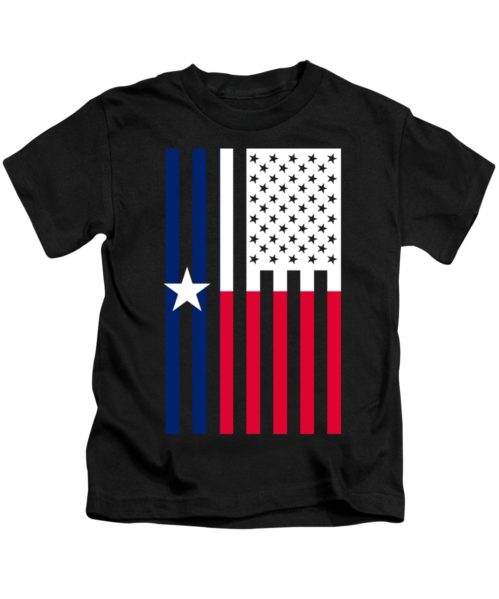 Texas Kids T-Shirt featuring the digital art Texas State Flag Graphic Usa Styling by Garaga Designs