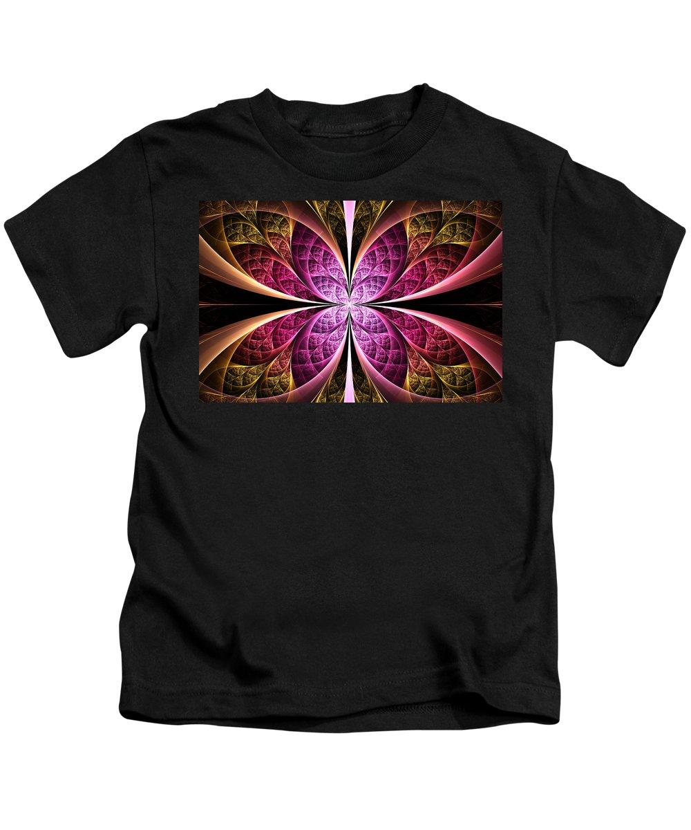 Elena Riim Kids T-Shirt featuring the digital art Textured Flower by Elena Riim