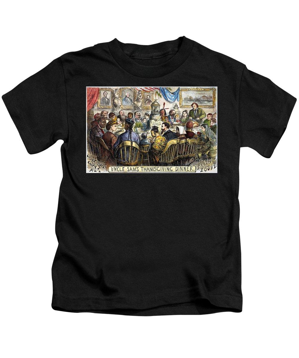 1869 Kids T-Shirt featuring the photograph Thanksgiving Cartoon, 1869 by Granger