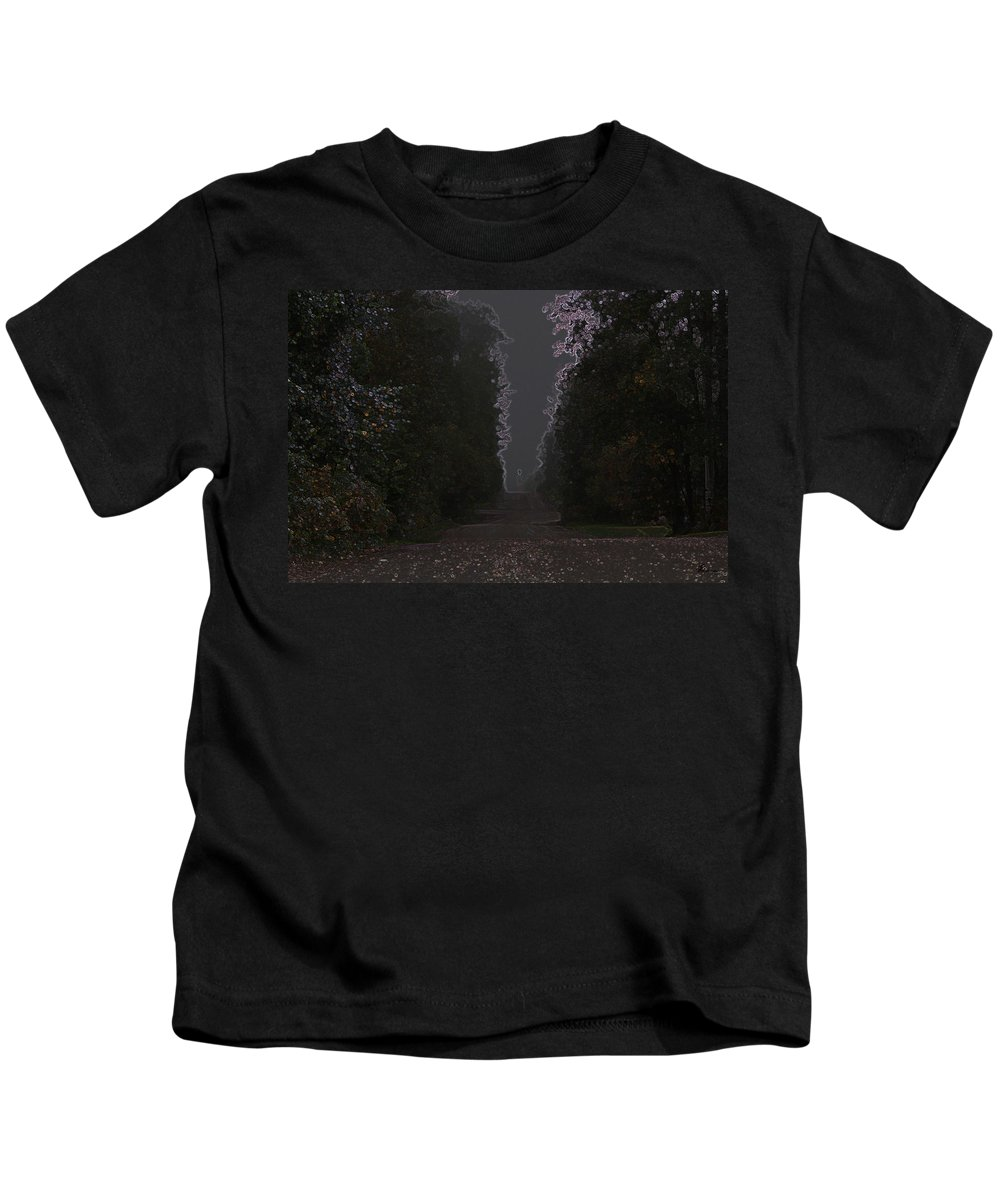 Road Ghost Boy Trees Laneway Treed Nature Colorful Leaves Plants Stones Kids T-Shirt featuring the photograph The Adventurer by Andrea Lawrence