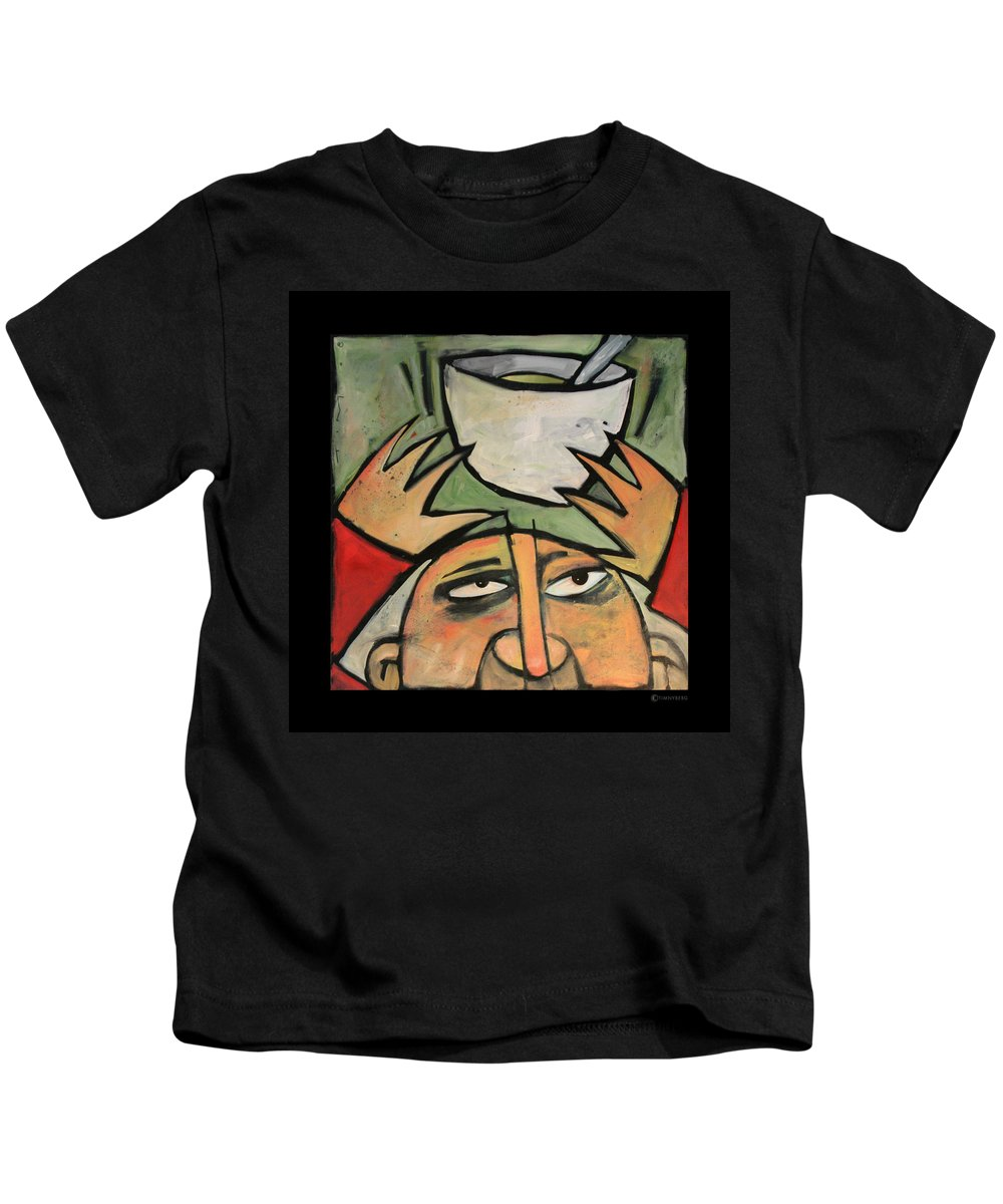 Humor Kids T-Shirt featuring the painting The Amazing Brad Soup Juggler by Tim Nyberg