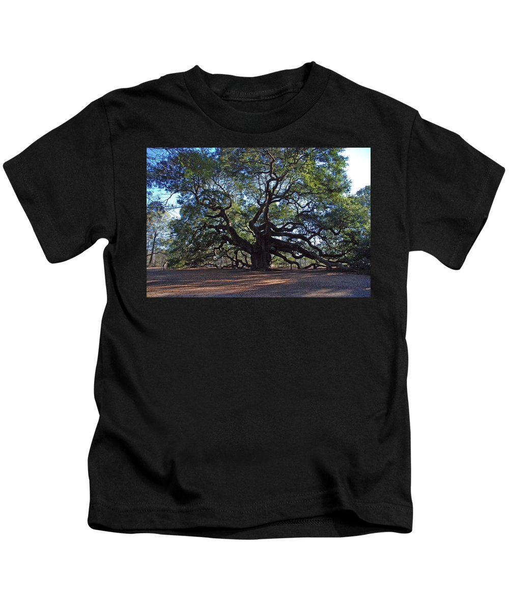 Photography Kids T-Shirt featuring the photograph The Angel Oak In Spring by Susanne Van Hulst