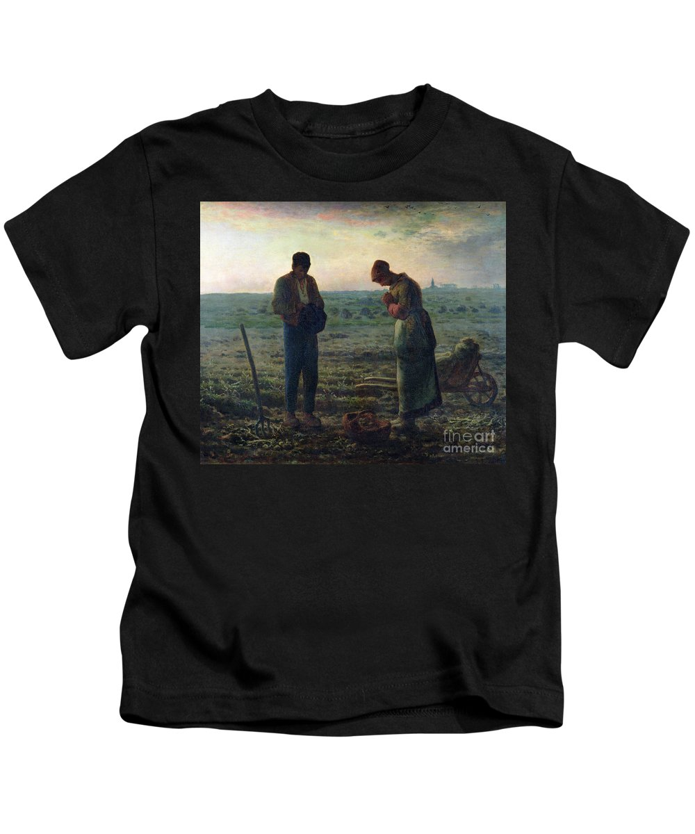 The Kids T-Shirt featuring the painting The Angelus by Jean-Francois Millet