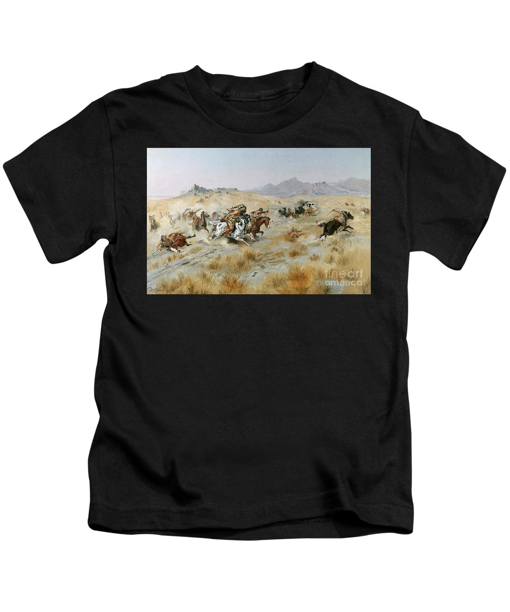 Bows Kids T-Shirt featuring the painting The Attack by Charles Marion Russell