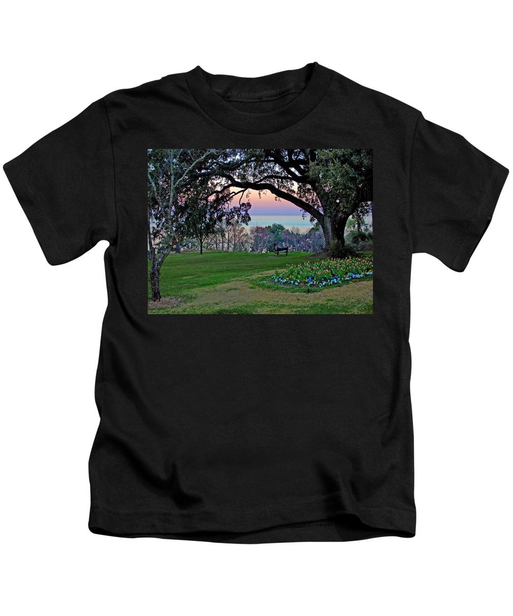Fairhope Kids T-Shirt featuring the painting The Bay View Bench by Michael Thomas