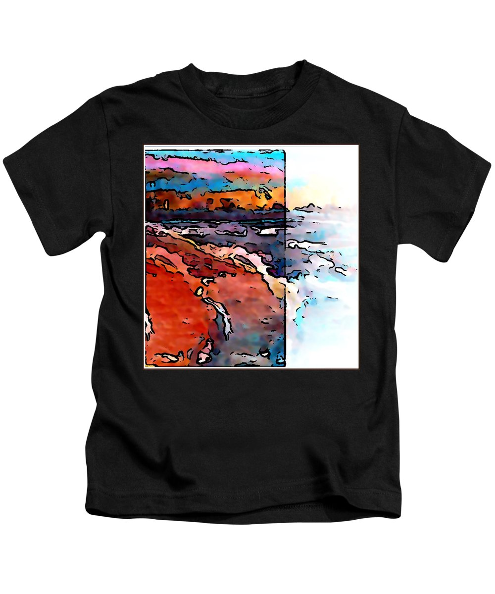 Art Kids T-Shirt featuring the painting The Beach by Gregory McLaughlin