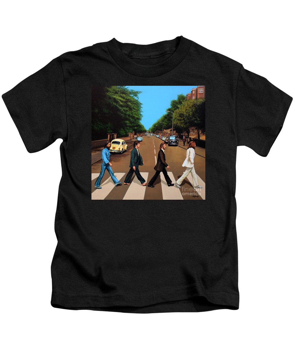 The Beatles Kids T-Shirt featuring the painting The Beatles Abbey Road by Paul Meijering