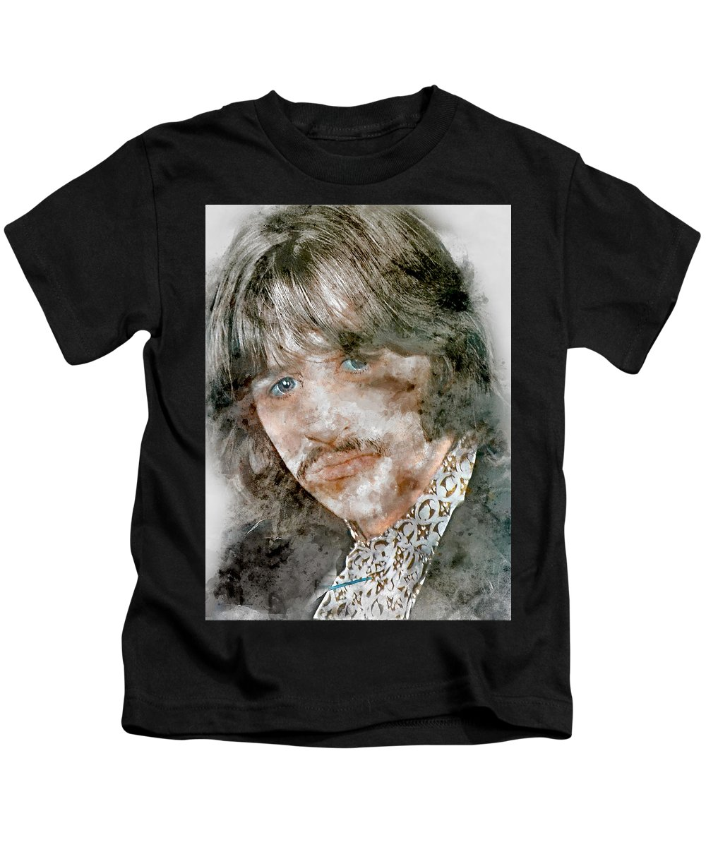 Ringo Starr Kids T-Shirt featuring the mixed media The Beatles Ringo Starr by Marvin Blaine