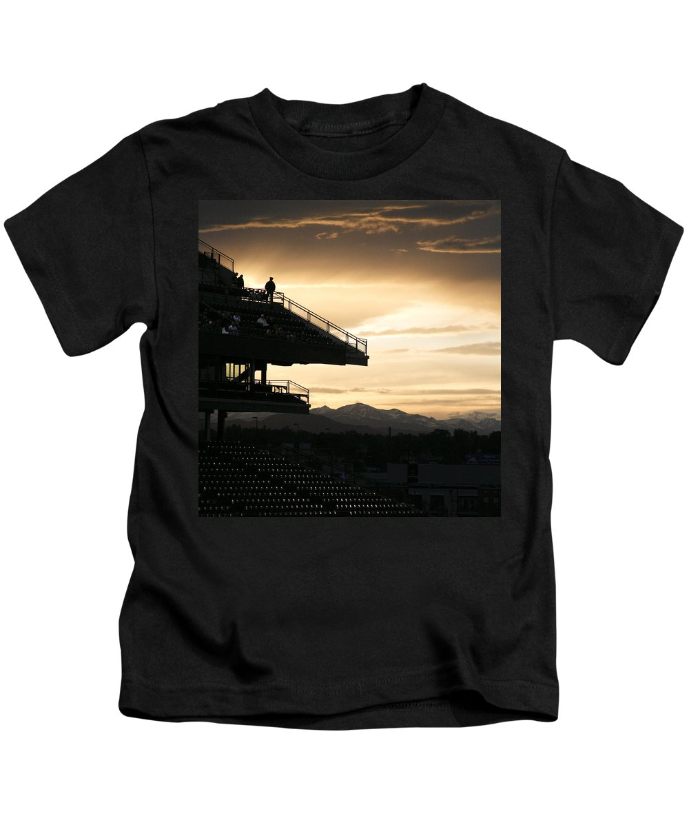 Sunset Kids T-Shirt featuring the photograph The Beauty Of Baseball In Colorado by Marilyn Hunt