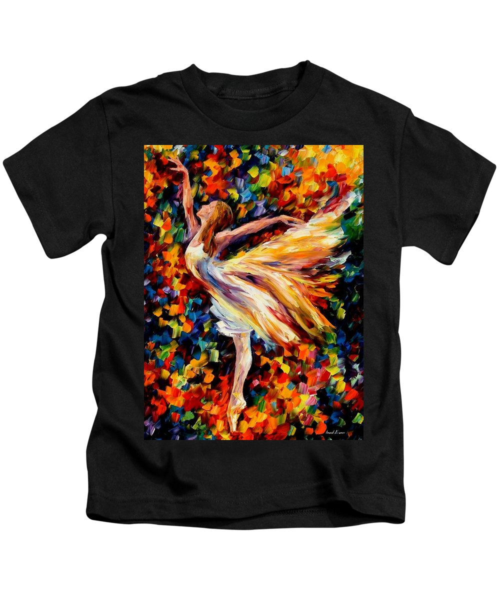 Afremov Kids T-Shirt featuring the painting The Beauty Of Dance by Leonid Afremov