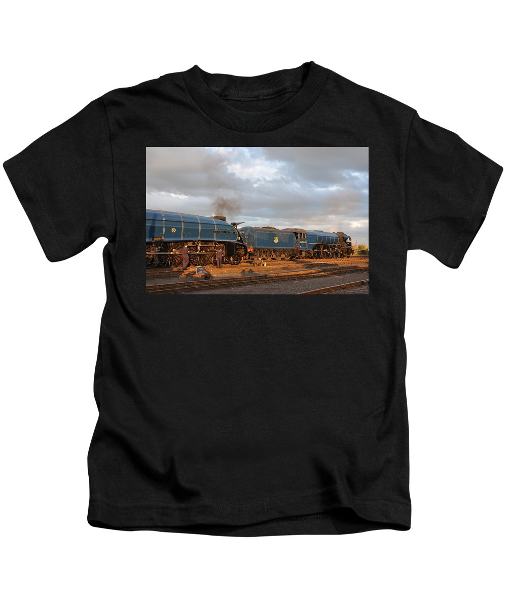 Kids T-Shirt featuring the photograph the Big Blue Engines by Ian White
