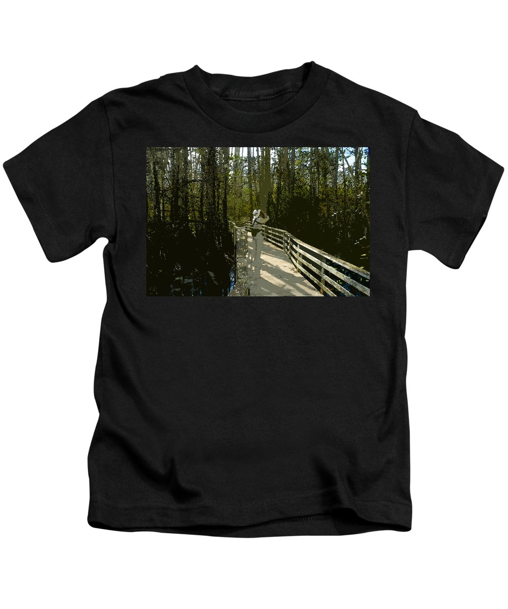 Bird Watching Kids T-Shirt featuring the painting The Birder by David Lee Thompson