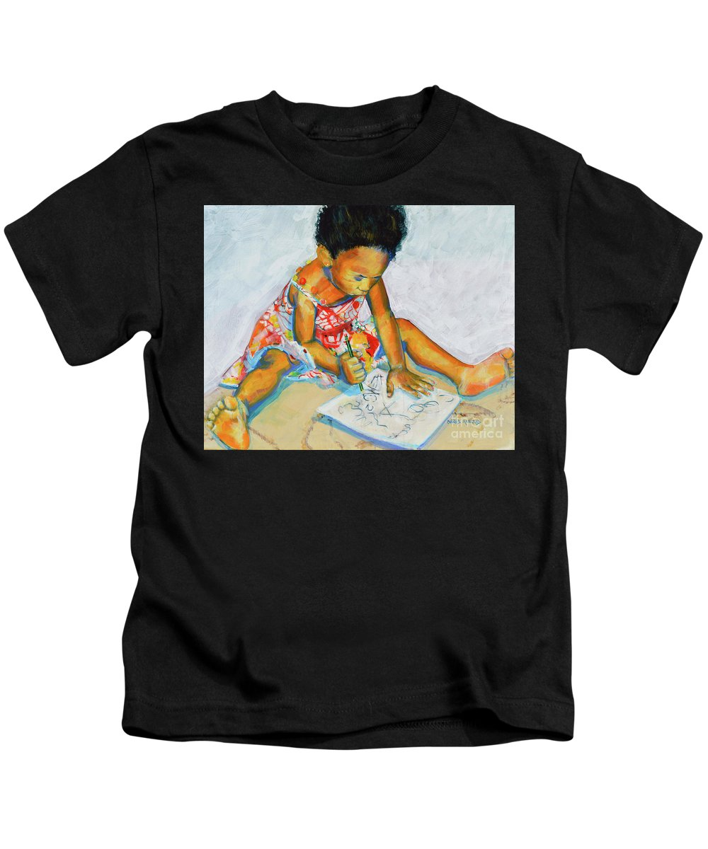 Girl Kids T-Shirt featuring the painting The Birth Of Genius by Charles M Williams