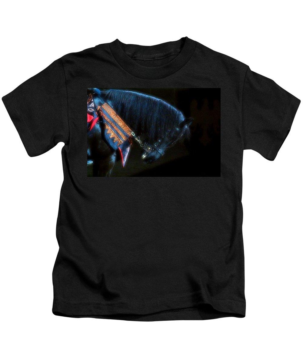 Horse Kids T-Shirt featuring the photograph The Black Horse II by Amanda Struz
