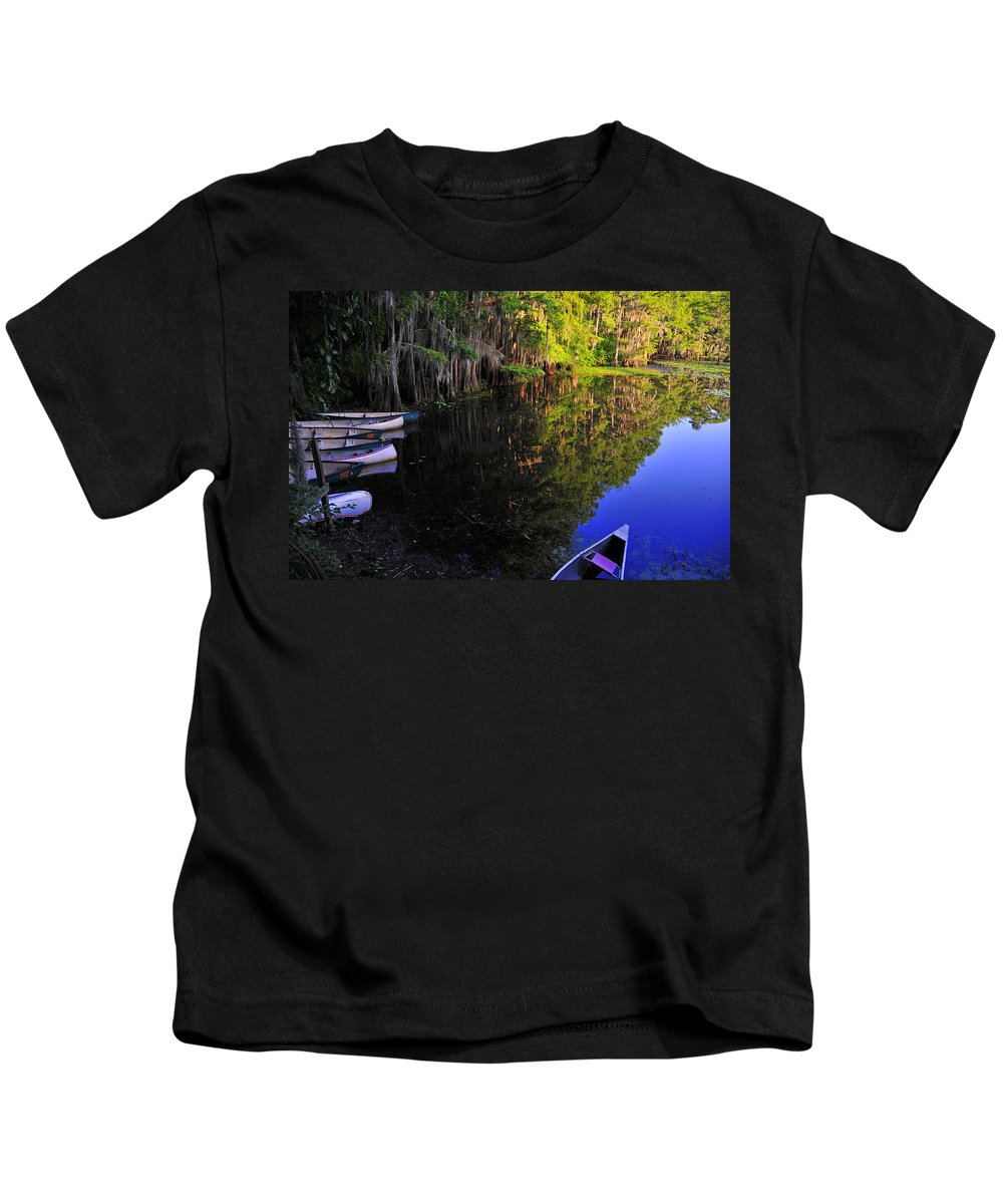 Skip Hunt Kids T-Shirt featuring the photograph The Black Lagoon by Skip Hunt