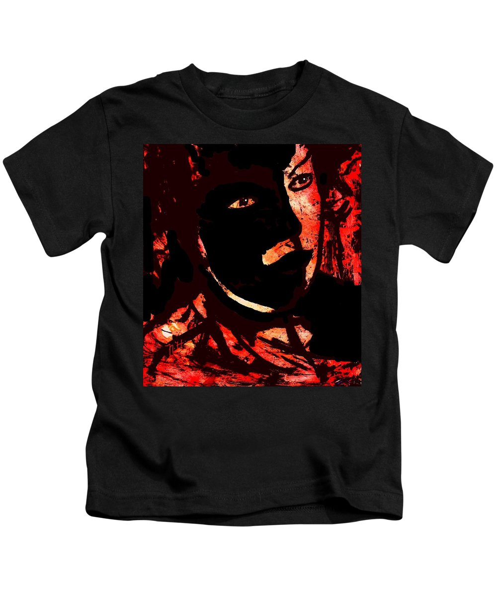 Mask Kids T-Shirt featuring the painting The Black Mask by Natalie Holland