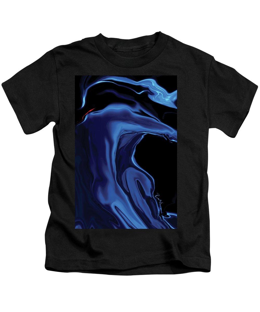 Abstract Kids T-Shirt featuring the digital art The Blue Kiss by Rabi Khan