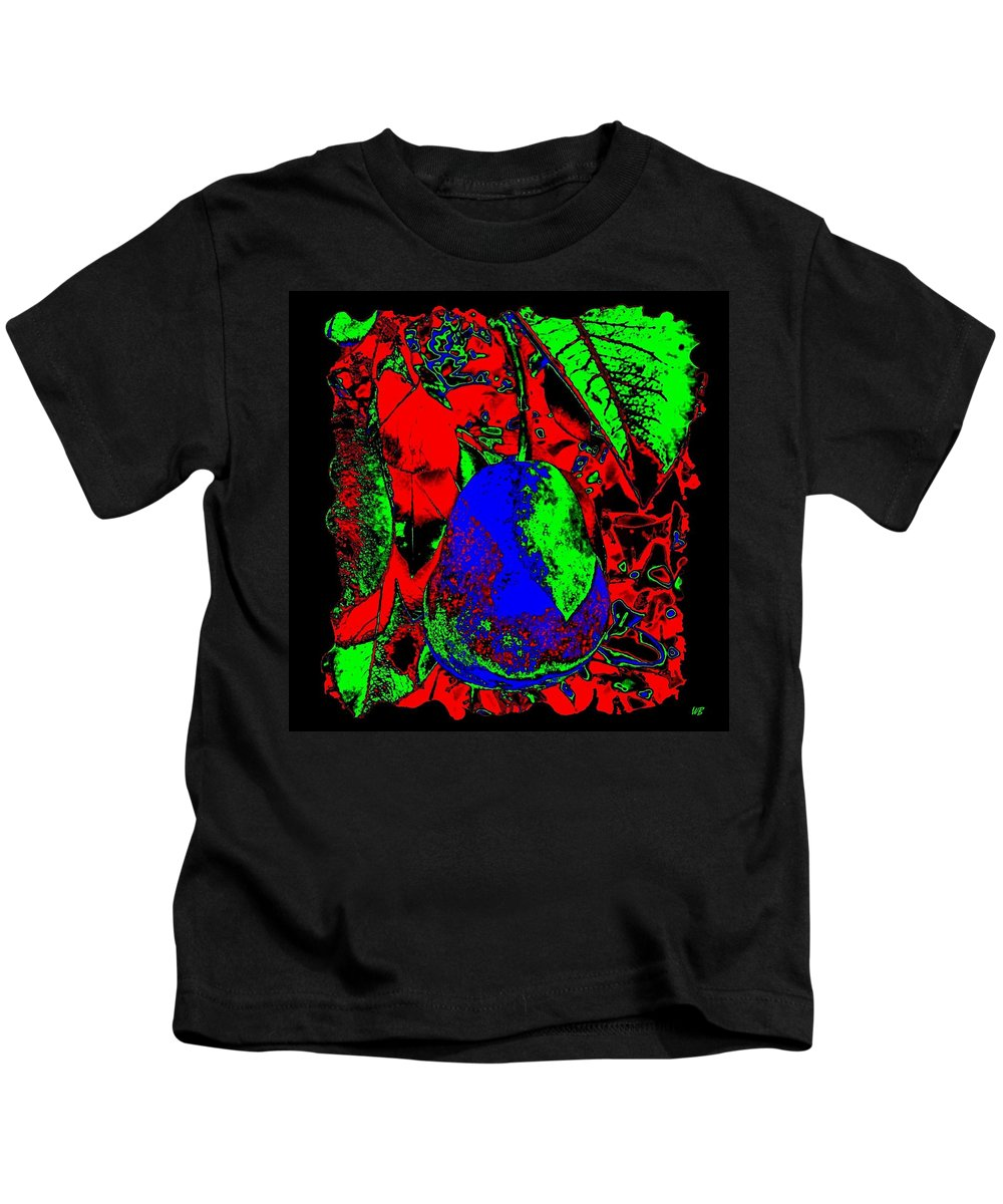 Abstract Kids T-Shirt featuring the digital art The Blue Pear by Will Borden