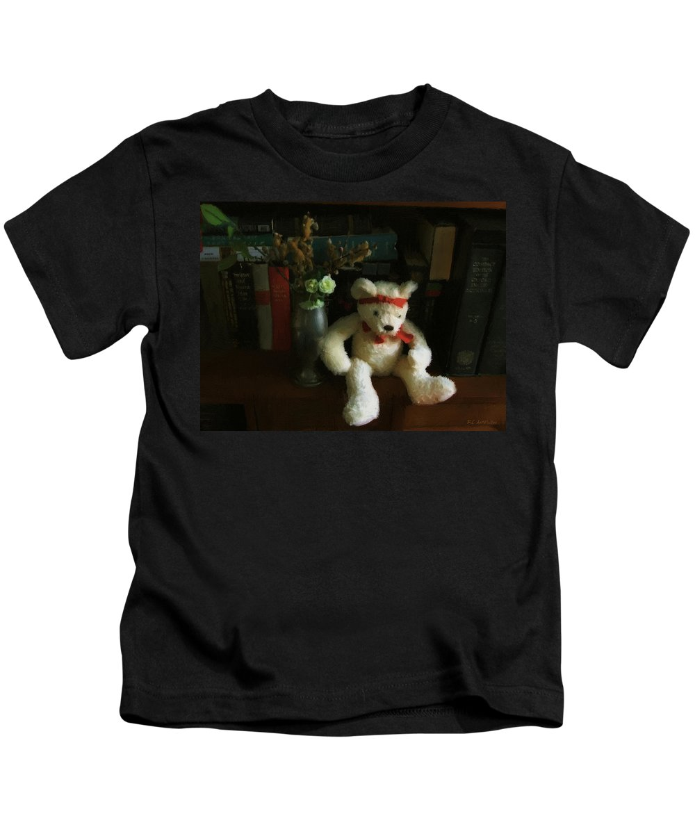 Bear Kids T-Shirt featuring the digital art The Book Bear by RC DeWinter